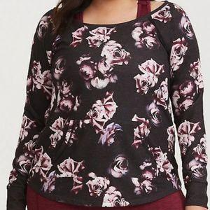 Torrid 1X Black floral active pocket sweatshirt